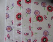Pink flowers with ladybugs, flannel cloths, set of 4, SECOND, REDUCED PRICE