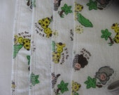 Alphabet zoo animals, flannel cloths, set of 4, SECOND, REDUCED PRICE
