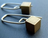 So Square earrings - sterling silver and vintage brass