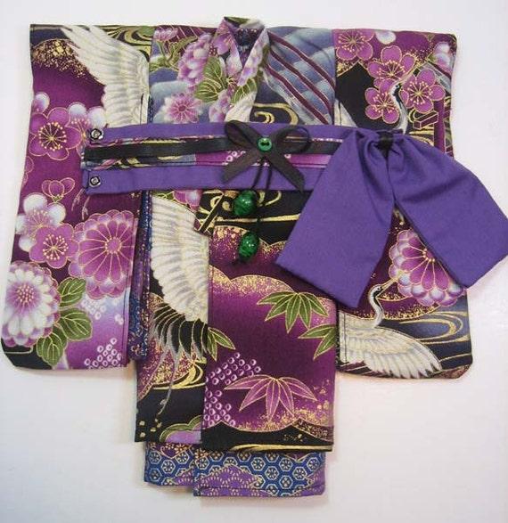 Lovely Double layered Crane Garden Violet Kimono and obi for 1/6th 26cm YOSD BJDs