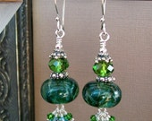 Evergreen Spruce Tropical Forest Lampwork Sterling Silver Crystal Earrings