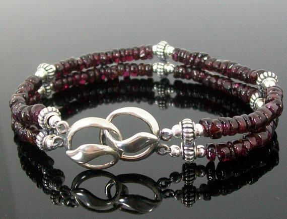 Garnet Double Strand Sterling Silver Handmade Bracelet