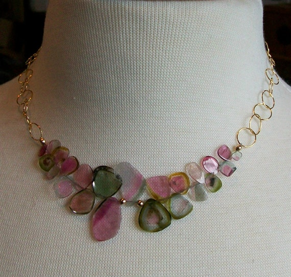 Watermelon Tourmaline Slices 14kt Gold Filled Necklace