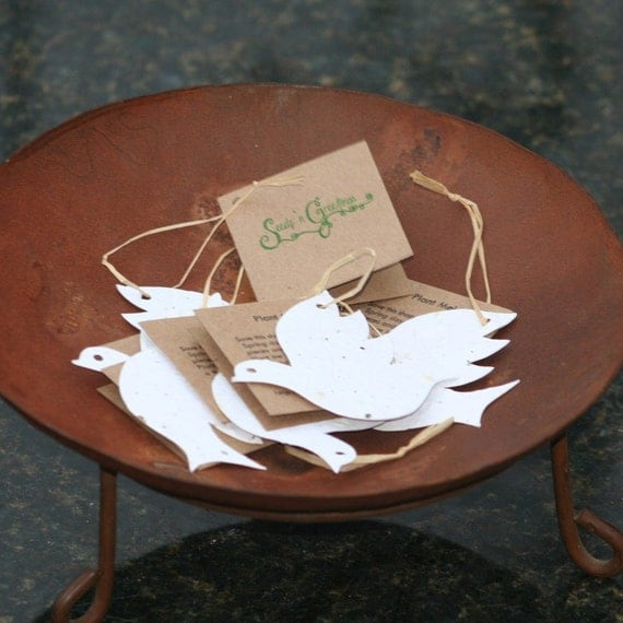 Plantable Dove Hang Tags -One Dozen - Use for gifts or as an ornament - Eco Friendly