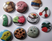 Bittersweets Assorted 1 inch Pinback Buttons - set of 6