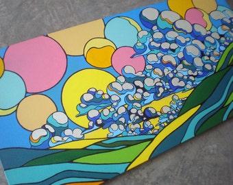 LANDSCAPE WALL ART  24x48 - Modern pop joyful cloud painting