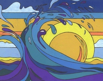"""8 x 10"""" Open Edition Print of Sun and Waves"""