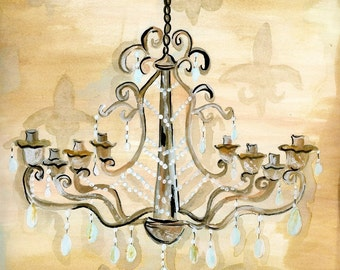 FADED CHANDELIER Fine Art Print 8 x 10 by Artist Teresa Sheeley