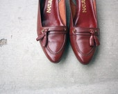 RESERVED - size 7.5 - Burgandy Loafers with Tassels