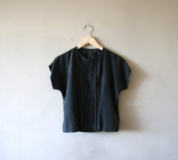 RESERVED - Simple Black Pleat Front Blouse