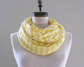 Infinity scarf.  Circle scarf.  Yellow and white nautical striped jersey. - birdapparel