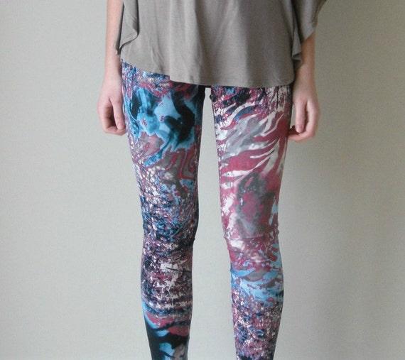 LAST ONE Leggings. Splatter galaxy print.  Pink, blue and grey.  xs, s, m, l