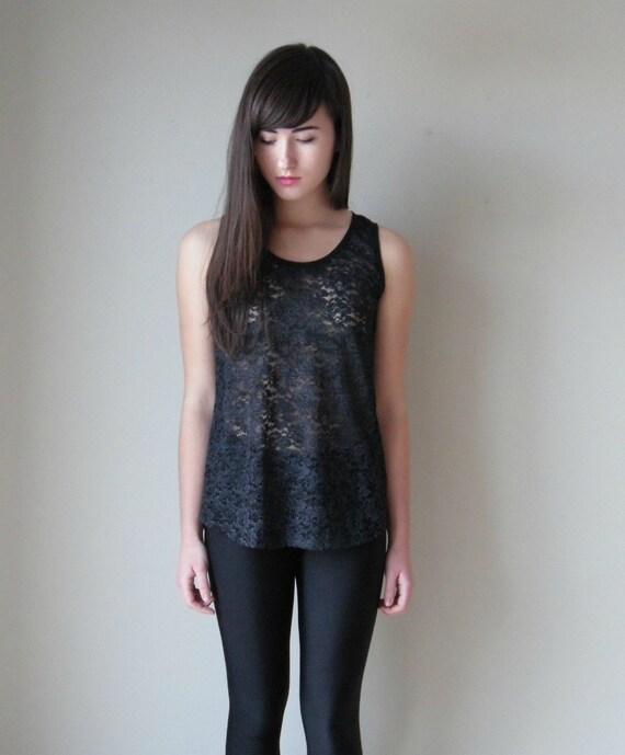 LAST ONE  Black lace tank top with curved hem - small