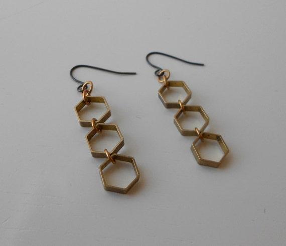 Geometric hexagon earrings.  Modern, minimal statement earrings. Raw brass.