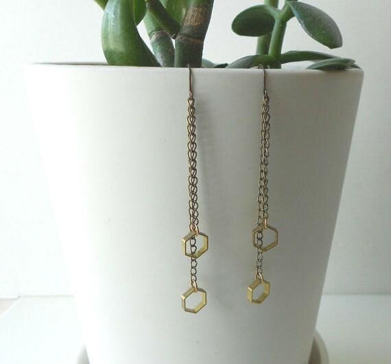 Hexagon dangle earrings with long chain.  Geometric.  Modern, minimal statement jewelry.  Raw brass.