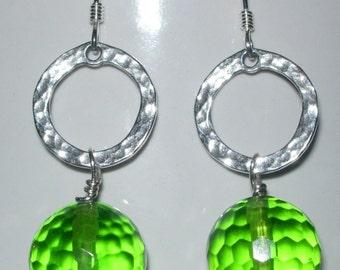 Lime Silver Ring Earrings