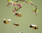 BEES MOBILE, felted, waldorf inspired