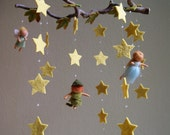 Reserved for chandelier - Peter Pan, Wendy and Tinkerbell mobile - felted, waldorf inspired