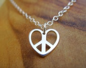Peace, Love, and Happiness Necklace- Sterling Silver Peace Sign and Heart Pendant on Sterling chain with Secure Sterling Clasp