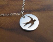 Sterling Sparrow Necklace- Small Bird Filigree Pendant with Dainty Sterling Silver Chain with Sterling Secure Clasp