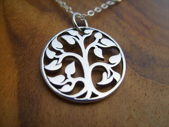 Sterling Silver Small Circle of Life Necklace- Tree Branch Pendant with Sterling Silver Dainty Chain and Sterling Silver Clasp