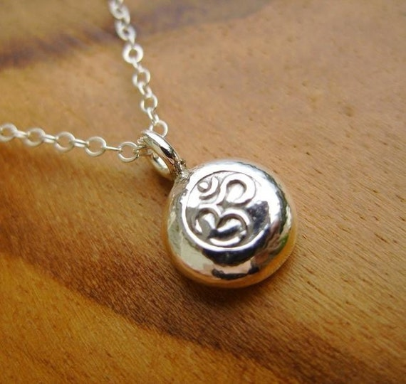 Fine Silver Om Pebble Necklace- Ohm Yoga Pendant on dainty Sterling chain with Secure Sterling Clasp Namaste