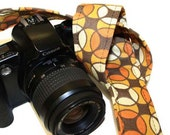 CLEARANCE Camera Strap for Slr, Dslr - Autumn Tesselations in Brown Orange and Gold by Howard Avenue