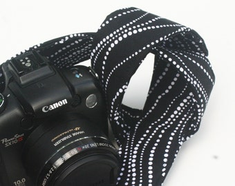 Handmade Camera Strap - Black Wavy Dots - SLR, DSLR by HowardAvenue