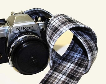 Camera Strap - Black Grey White Check with a touch of Glitter - SLR, DSLR by Howard Avenue