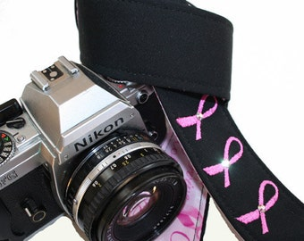 Handmade Camera Strap - Custom Embroidered Breast Cancer Awareness - pink ribbons for SLR, DSLR