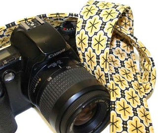 SLR, DSLR Camera Strap  Yellow Black Retro with genuine leather by Howard Avenue