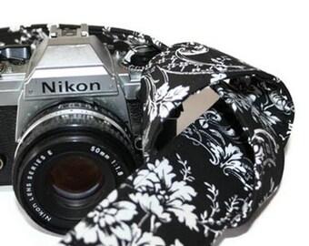 Camera Strap - Black White Floral Damask - SLR, DSLR