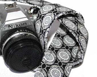 Camera Strap - Black White Grey Cabbage Rose - SLR, DSLR