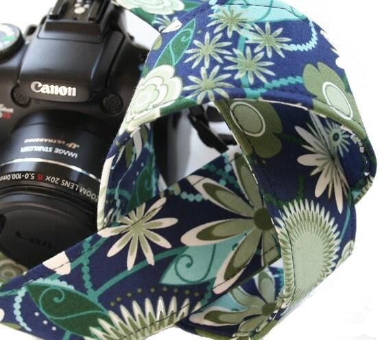 Camera Strap - Navy / Green Floral -  SLR, DSLR