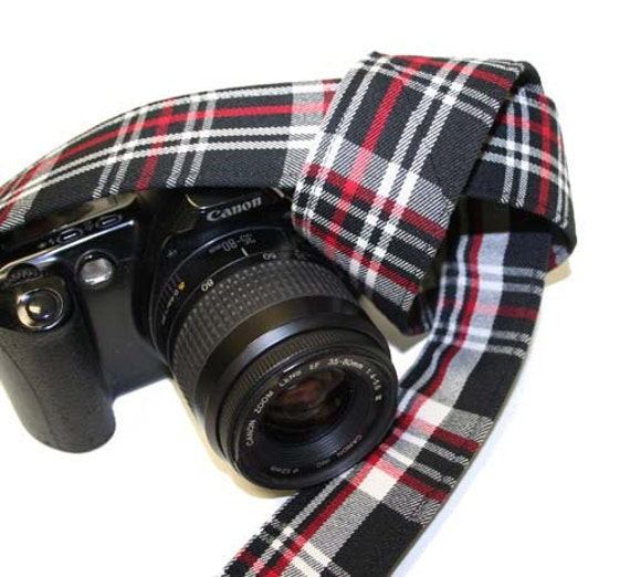 Camera Strap for Slr Dslr -  Black White Red Plaid - Genuine Leather Ends by Howard Avenue