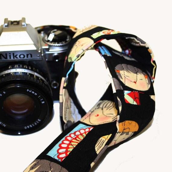 Camera Strap - Yui Kosheki Black with solid Black Lining Reversible SLR, DSLR by Howard Avenue