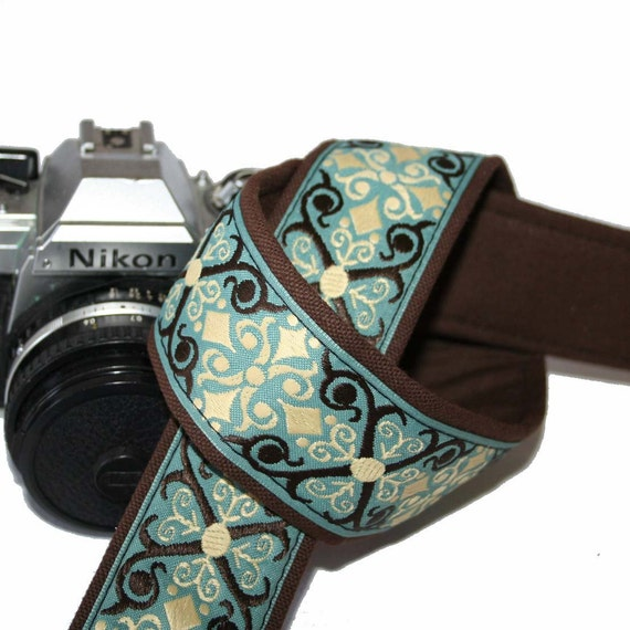 Camera Strap - Teal and Brown Brocade  - SLR, DSLR by HowardAvenue