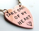 Stamped Copper heart with sterling silver Rolo chain and Hematite
