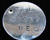 Hand Stamped personalized name tag. Sterling Silver - disc Custom designer jewelry Australian Designer MSIA team jewellery