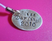 Sterling Silver hand stamped initial phone charm