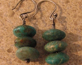 Turquoise and sterling silver earrings oxidized Custom designer jewelry Australian Designer MSIA team jewellery