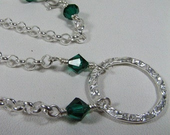 Sterling Silver rolo chain 4mm links with Emerald Swarovski bicones and stunning sterling silver hammered loop necklace