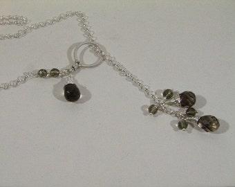 Sterling Silver Rolo Lariat Smokey Quartz Necklace Custom designer jewelry Australian Designer MSIA team jewellery