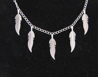 Sterling Silver necklace with Sterling silver leaves Custom designer jewelry Australian Designer MSIA team jewellery