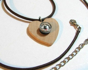 Wood compass heart necklace