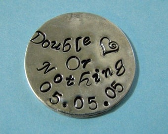Sterling silver hand stamped coin personalized double sided