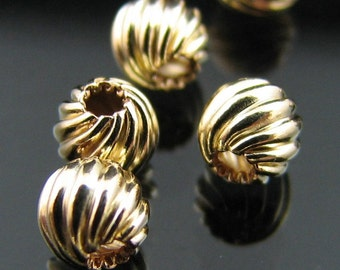 14kt G/F Gold filled 4 mm round fancy twisted corrugated bead 10 (NOT PLATED)