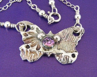 PMC .999 silver Butterfly with Dichroic stone oxidized Custom designer jewelry Australian Designer MSIA team jewellery