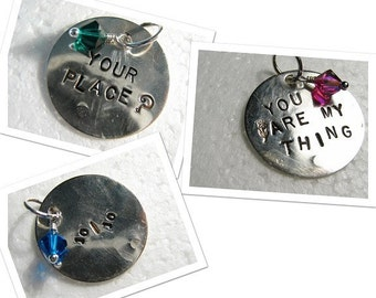 1 x 1 inch sterling silver disc with hand stamped words Custom designer jewelry Australian Designer MSIA team jewellery