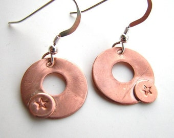 Copper Disc earrings with star and sterling silver Custom designer jewelry Australian Designer MSIA team jewellery